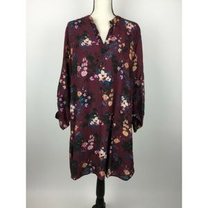 Tolani A-Line Dress XL Red Floral Shirred A28-15Z